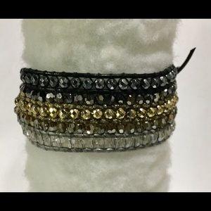 🆕 Chan Luu Crystal Mix Cuff Bracelet Black Gold